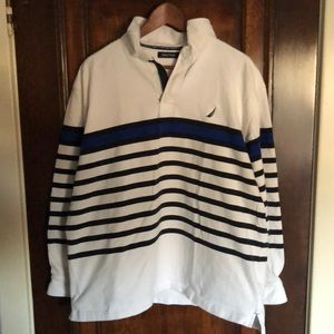 Nautica Stripped 1/4 Zip Pullover: XL